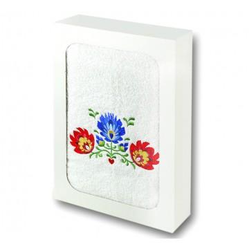 ręcznik z ludowym haftem kwiaty łowicz