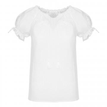 ludowa bluzka z białym haftem angielskim