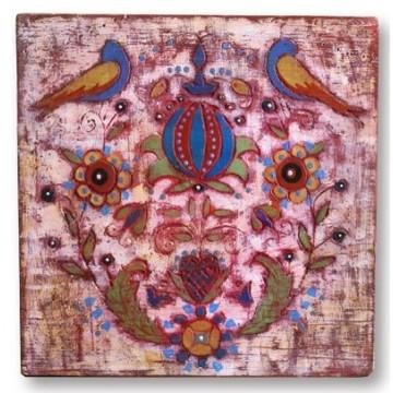ludowy obraz na drewnie poducha jakuba
