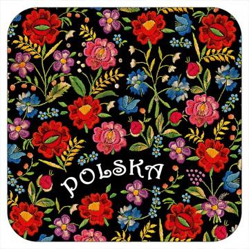 podstawki pod kubek z kwiatami ludowymi ze stroju krakowskiego