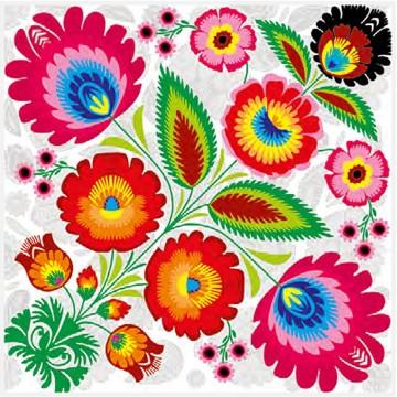 ludowe papierowe serwetki kwiaty