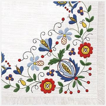 serwetki papierowe z ludowym wzorem kaszubskim z hafteem
