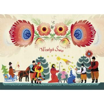 kartka świąteczna boze narodzenie stajenka ludowa