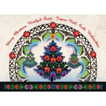 kartka świąteczna wycinanka ludowa z choinką