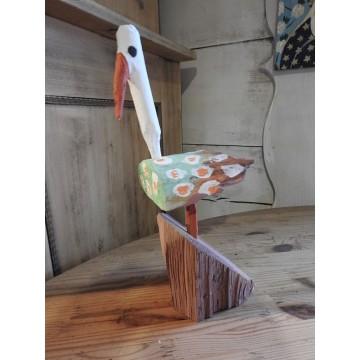 rzeźba ludowy bocian purta
