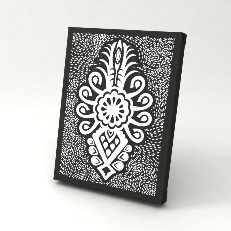 folk grafika obraz na płótnie parzenica czarnobiała