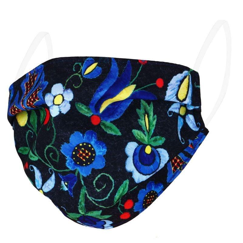 folkowa maseczka z haftem kaszubskim kwiaty