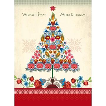 kartka świąteczna folkowa choinka