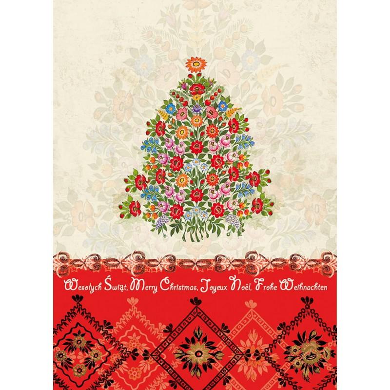 zalipie kartka świąteczna z choinka