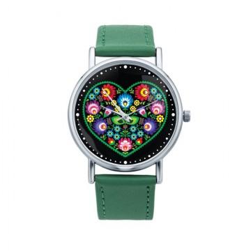 zegarek ludowe serce zieleń