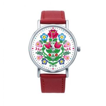 Folk zegarek zalipie kwiaty...