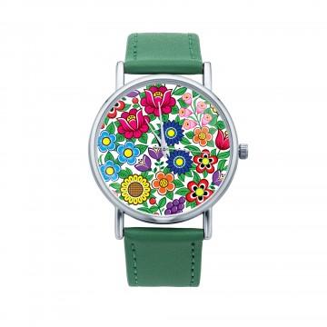 ludowy zegarek kwiaty zalipie zielony
