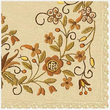 folkowe serwetki papierowe z motywem kwiatowego haftu borowiackiego