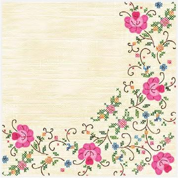 papierowe serwetki ludowy haft kwiatowy