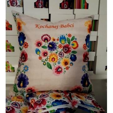 folkowa poduszka na dzien babci