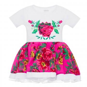 folkowa sukienka z ludowym haftem kwiaty dla dziewczynki