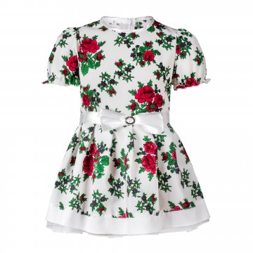 sukienka w ludowe kwiaty dla dziewczynki biała