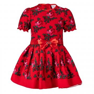 sukienka w ludowe kwiaty czerwona