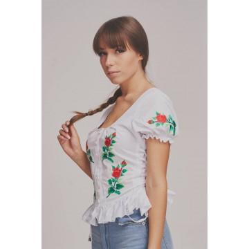 bluzka z ludowym haftem kwiatowym