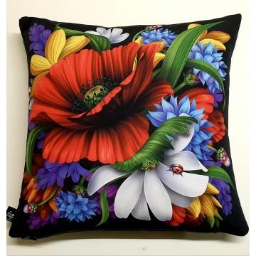 poduszka kwiaty folkowe łąka