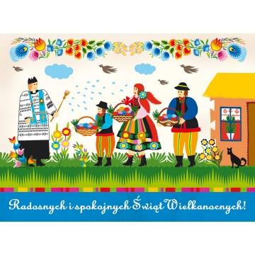 kartka pocztowa karnet ludowa wielkanoc święconka