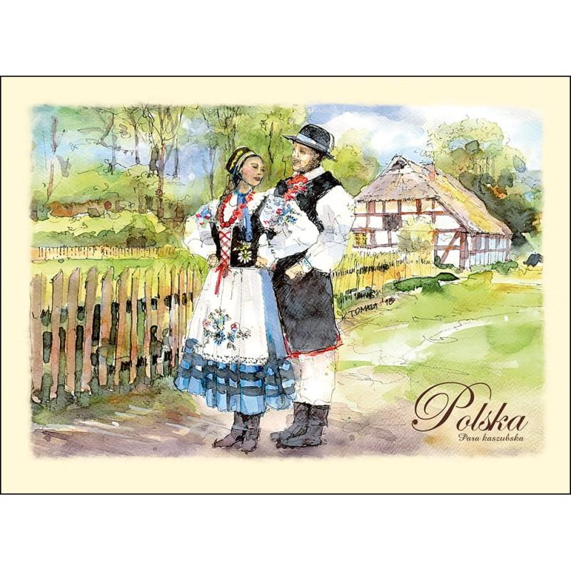 pocztówka kaszubski strój ludowy