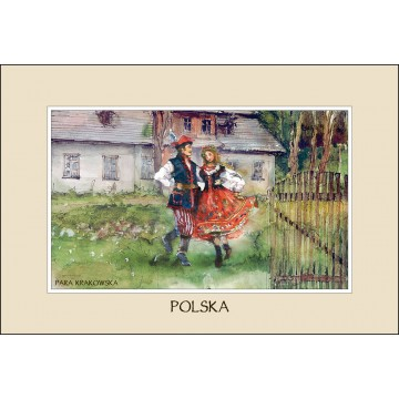 reprodukcja przedstawiająca parę w krakowskim stroju ludowym