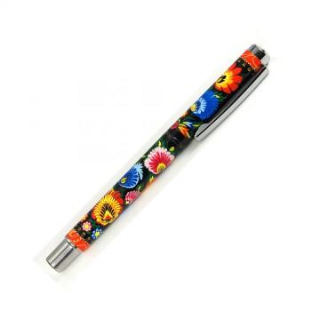folkowy długopis żelowy kwiaty łowickie