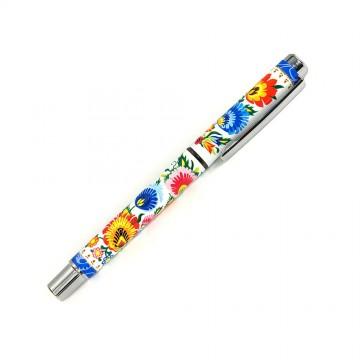 folk długopis łowickie kwiaty biały