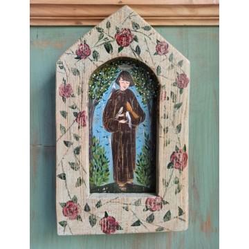 ludowy obraz, kapliczna na drewnie sw franciszek