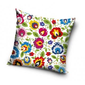 folkowa poduszka z ludowymi kwiatami