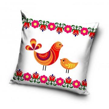 folkowa poduszka z ptaszkami biała