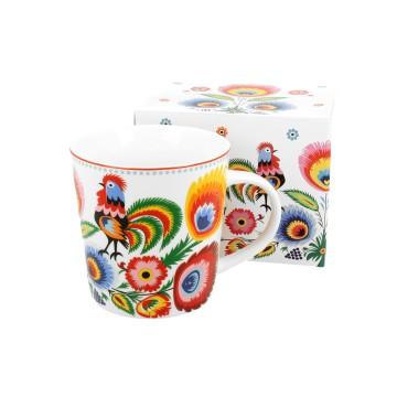 kubek latte  z udowym wzorem koguty