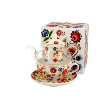 czajnik z filiżanką łowickie kwiaty