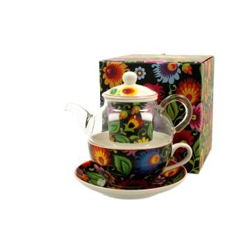 czajnik z filiżanką ludowe kwiaty czarny