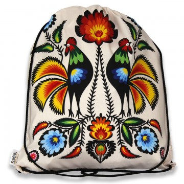 plecak - worek z ludowymi kogutami