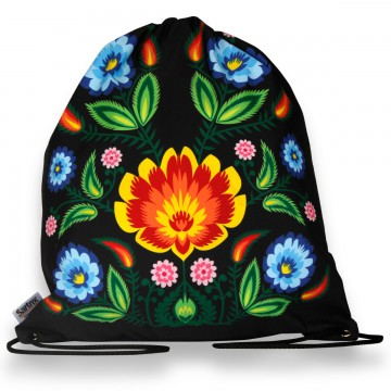 worek wycinanka kwiaty ludowe