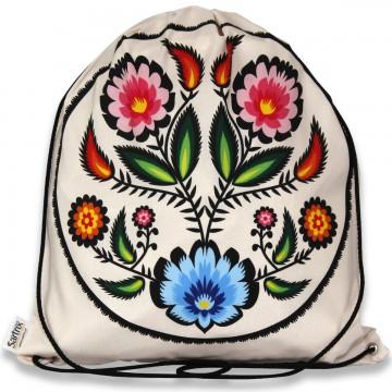 worek z łowickim wzorem wycinanka kwiaty