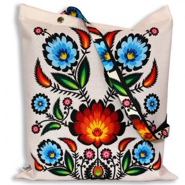 torba na zakupy ludowe kwiaty beż