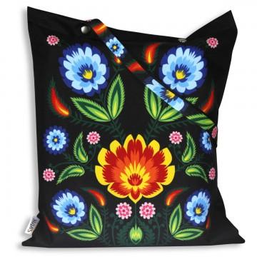 torba  na zakupy ludowe kwiaty czarna