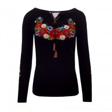 bluzka z haftem kwiaty ludowe