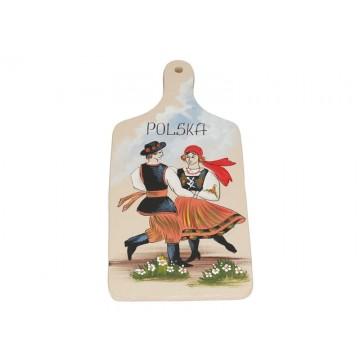 deska z ręcznie malowaną parą w ludowym stroju łowickim