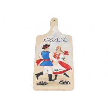 ręcznie malowana deska z parą w ludowym stroju kaszubskim