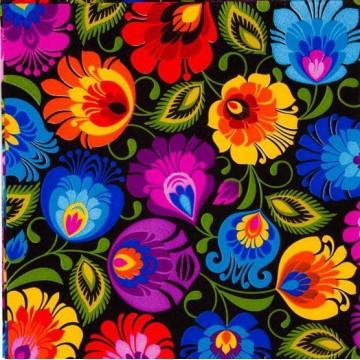 serwetki ludowy łowicz czarny kwiaty