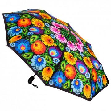 parasolka z ludowymi łowickimi kwiatami