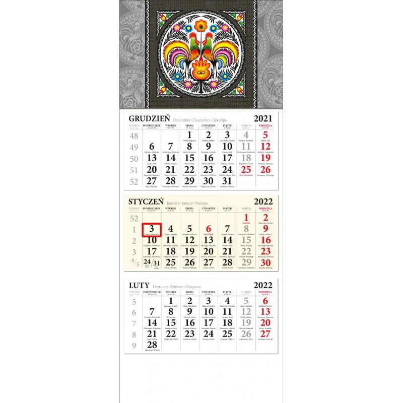 kalendarz ścienny trójdzielny z ludowym wzorem