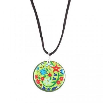 Naszyjnik kwiaty kaszubski zielony