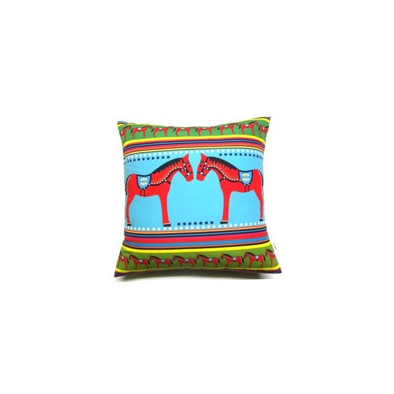Poduszka ludowe koniki niebieska