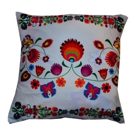 Poduszka ludowe kwiaty biała
