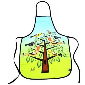 Folkowy fartuch dudki na drzewie